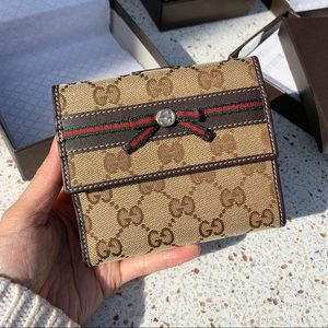 NWT Authentic Gucci Woven GG Medium Bifold Wallet